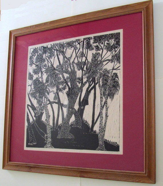 Trees, Linoleum block print. Limited edition.  Printed and signed in pencil by the artist
