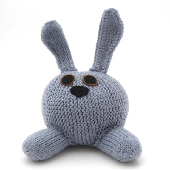 Stuffed Toy Rabbit. Hand Knitted Blue Bunny