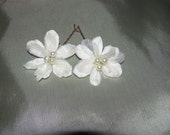 Soft White Silk and organza flower hair pins with Swarovski three pearl centers  SET OF 2