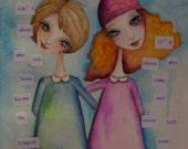 FRIENDSHIP 9 x 12 ORIGINAL Watercolor Mixed Media
