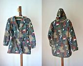 Vintage Floral Rain Coat w/ Removable Hood M