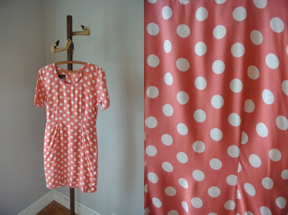 Vintage 90s Pink Polka Dot Mini Dress