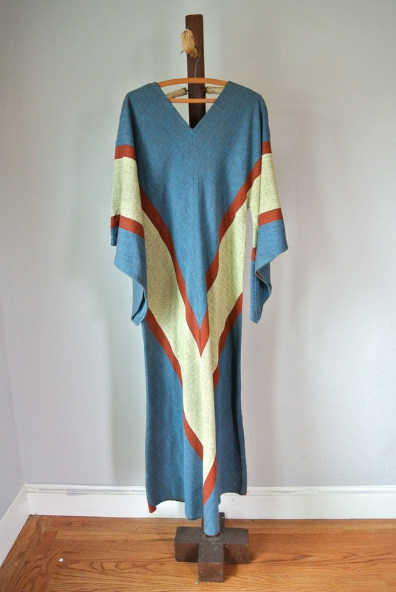 Vintage 70s Chevron Knit Maxi Dress M