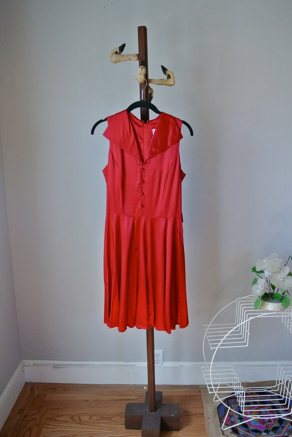Vintage 60's Red Satin Cocktail Dress Xs/Sm