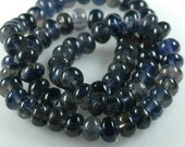 Stormy Monday Natural IOLITE Inky blue and warm grey Smooth 8mm RONDELLE beads - full 16 inch strand