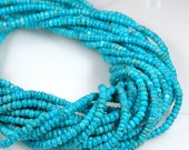 Tiny TURQUOISE  3.5mm Rondelle beads vivid color -  full strand