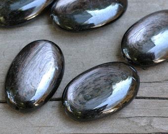 3 of HYPERSTHENE oval focal bead 29mm big pendant bead