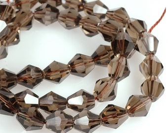 AA SMOKY QUARTZ faceted Bicone beads - light brown faceted beads -  half strand - 8 inches