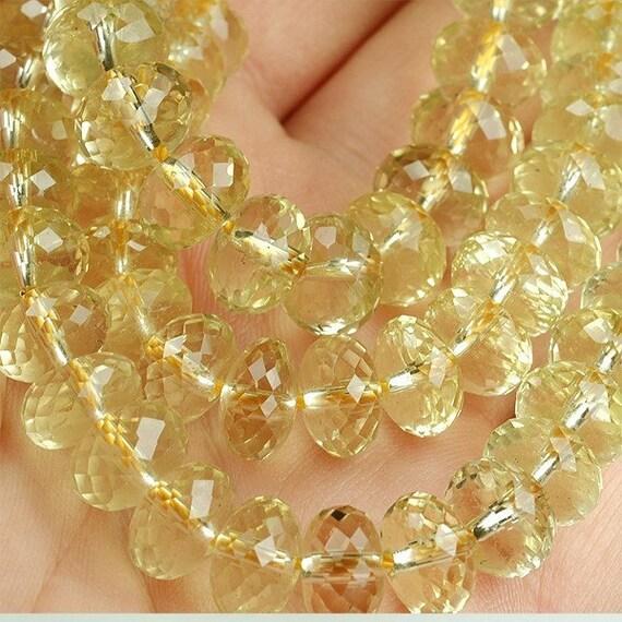 AA 9mm LEMON QUARTZ  faceted rondelle beads clear yellow quartz