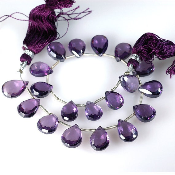 Amethyst ZIRCON Faceted Briolettes beads 10mm Pear Briolettes - 9 beads mini strand