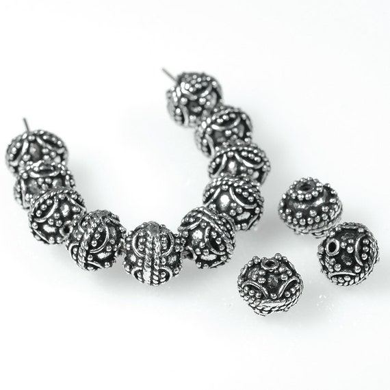 10 Oxidized Sterling SILVER Plated Copper 7mm round rondelle Bali filigree beads