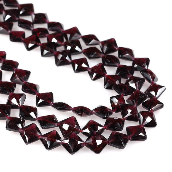 Deep Red GARNET faceted beads 10mm briolette Square Cushion Diamond  diagonal drill - 8 inch strand