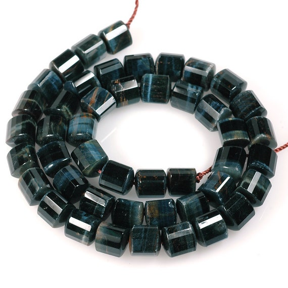 Natural BLUE TIGEREYE beads Tiger Eye Faceted tube beads  Multicolor gold navy blue - 8 inch strand