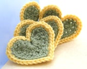 Crochet Applique Hearts - Gold n' Green