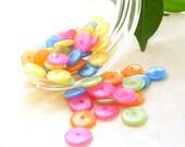 Set of 35 Plastic Rainbow Flat Disk Beads