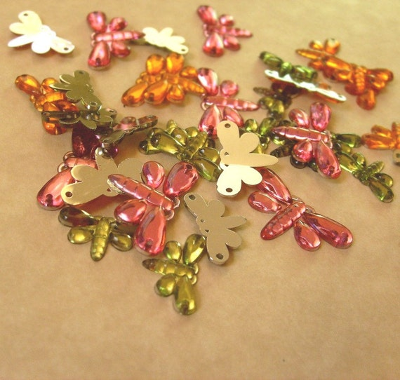 Jeweled Dragonfly Sew-On, Glue-Ons --- Spicy Color Combo (36 Pcs)