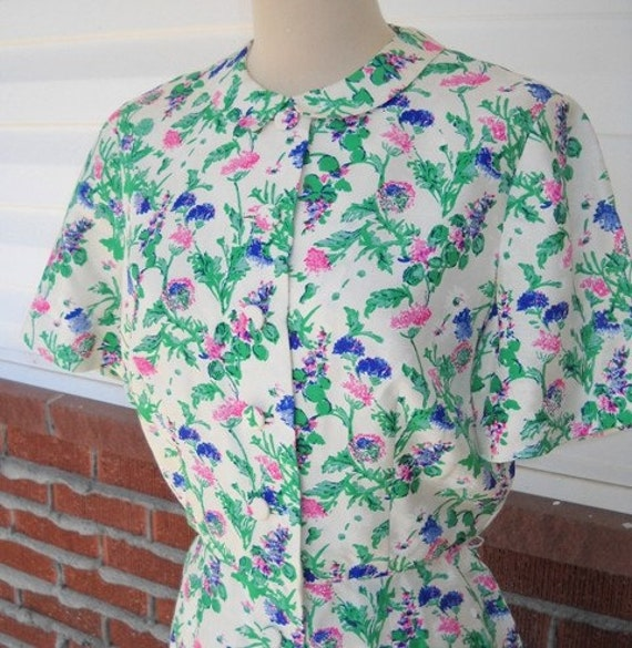 RESERVED Picnic Amongst the Clovers- MAD MEN Painted Floral Classic Shirtwaist Dress