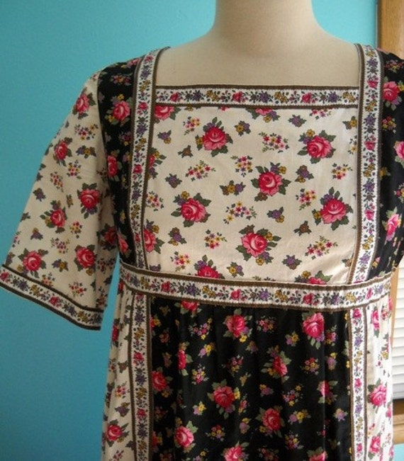Honeysuckle Rose - Designer Rose Printed Patchwork Dress