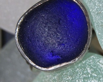 Carved Sterling Silver Blue Sea Glass Ring