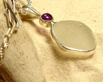 Sea Glass Pendant with Amethyst