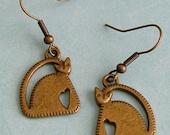 Heart Deco  Kitty Cat Earrings