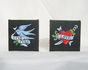 Small Paintings on Canvas, Traditional Tattoo Designs, Choose from LOVE or LIVE FREE