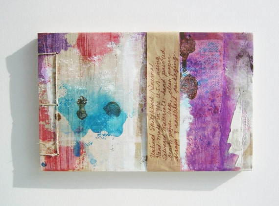 Purple Mist Sketchbook - Recycled Materials - Painted Brown Paper Bag Cover - Stab Bound