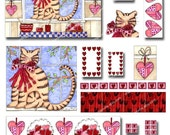 Buy 3 Get 1 Free Valentine Cat Clip Art with 3 Digital Papers Scrapbooking, Glass Pendants, Gift Tags, Wall Art, Cards, (No. 119)