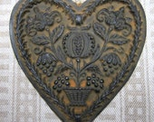 Large Pomegranate Heart Cast Black Beeswax Primitive Very Detailed Ornament