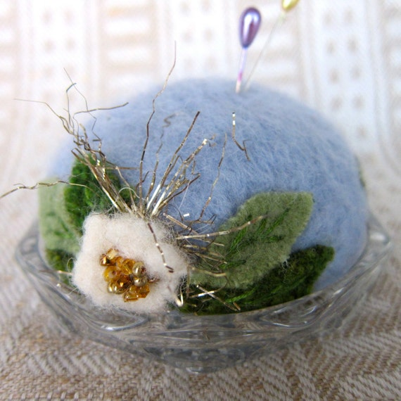 Periwinkle Blue Felted Wool Pincushion on French Glass Coaster