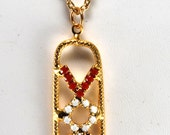 "Vintage Gold Metal Red White Blue Rhinestone ""Vote"" 60's Political Necklace"
