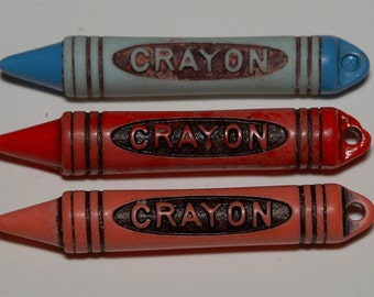 Old Vintage Set of 3 Cast Plastic Colored Crayon Charms