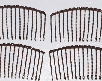 Vintage 60's Brown Metal Made in Japan 4 Hair Combs