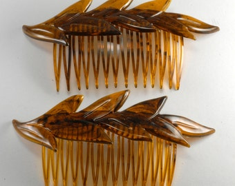 Vintage Made in USA Leaf Tortoise Color Hair Comb Pair