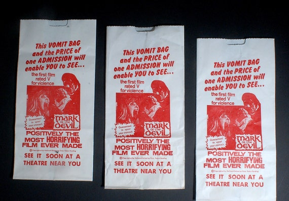 Vintage Cult Horror Classic Mark Of The Devil Vomit Bags Lot of 3