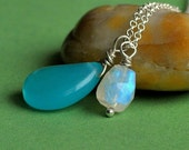 Blue Chalcedony and Rainbow Moonstone Necklace on Sterling Silver