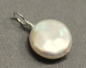 Lustrous Freshwater Coin Pearl Sterling Silver Pendant ONLY - June Birthday