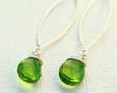 Bright Peridot Sterling Silver Marquis Earrings - August Birthstone