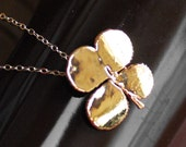 Real 24kt Four Leaf Clover Necklace - Genuine Irish Four Leaf Clover Electroplated - 14kt Chain - Lucky Necklace