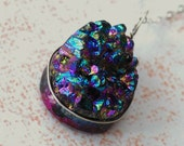 Iridescent Druzy Agate Pendant Necklace - Sterling Silver