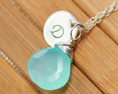Initial Birthstone Necklace - Personalized Handstamped Initial with Blue Chalcedony - Bridesmaids Gift