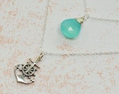Nautical Anchor Necklace - Beach Sterling Silver and Wire Wrapped Blue Chalcedony Double Strand