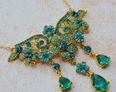 One of a Kind Gold Statement Necklace - Emerald Green Zircon - Vintage  14kt Gold Filled Chain OOAK