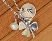 Four Leaf Clover Initial Necklace - Freshwater Pearl Personalized Hand Stamped Initial Name in Sterling Silver