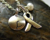Personalized Cancer Awareness Necklace Sterling Silver Freshwater Pearl Hand Stamped Initial