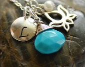 Personalized Lotus Necklace Birthstone Freshwater Pearl Initial Hand Stamped Turquoise gemstone