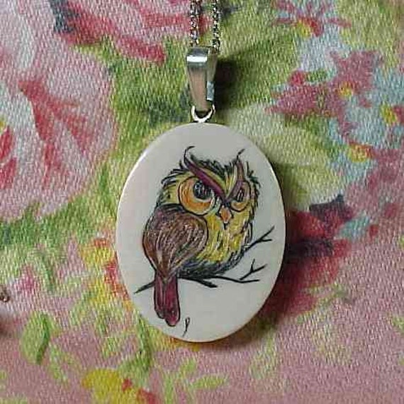Vintage Owl On Branch Colored Scrimshaw Pendant with 18 inch Sterling Chain