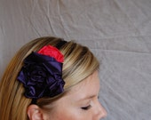 Navy and Coral Rosette Headband