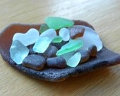 Hawaiian sea glass jewelry supply, collectors, display, assorted colors, large brown frosty