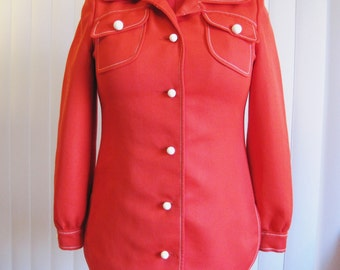 1970s Western Nautical Red Shirttail Jacket for Office or Cool Fall Nights